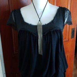 BCBG Max Azria Sheer Distressed Blk Boho Dress